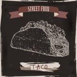 Taco skissar på svart grungebakgrund tacos för grön mexikansk sås för kokkonst traditionell kryddig stock illustrationer
