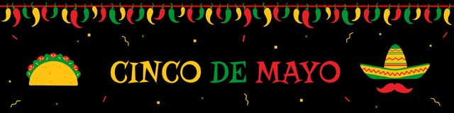 Taco and sombrero cinco de mayo event web banner. Traditional festival cinco de mayo web design banner template. Native taco and face with sombrero and mustache Royalty Free Stock Images