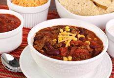 Taco Soup with condiments Royalty Free Stock Photos