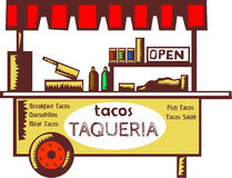 Taco Stand Taqueria Stand Woodcut Stock Image