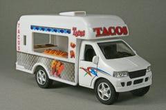 Taco Truck. Kintoy Kinsfun #5255D die-cast toy replica mobile stock image