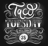Taco tuesday chalkboard vector poster with lettering and flourishes. Retro tacos advertising for flyers, prints, banners etc. Tacos vintage template for stock illustration