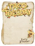 Taco Tuesday Party Flyer. Taco Tuesday Party Art Invitation Banner Logo with Tortillas Lettuce Tomato and Ground Beef stock image
