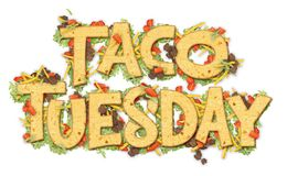 Taco Tuesday Party. Art Invitation Banner Logo with Tortillas Lettuce Tomato and Ground Beef Stock Images