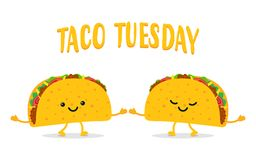 Taco Tuesday. Two Funny Tacos Royalty Free Stock Images