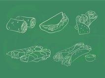 Taco und Verpackungen Stockfoto