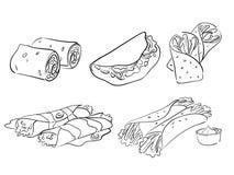 Taco- und Verpackungsarten Stockbild