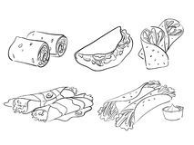 Taco and wrap styles. Vector illustration of taco and wraps Stock Image