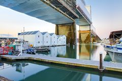 Tacoma downtown marina with boat houses under large bridge. Royalty Free Stock Photo