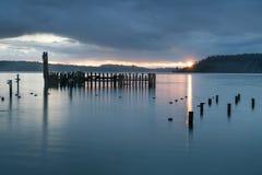 Tacoma Narrows Rainy Sunset Royalty Free Stock Image