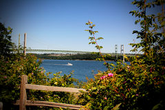 Tacoma Narrows Suspension Bridge. The Tacoma Narrows Bridge with yacht going by Royalty Free Stock Photos