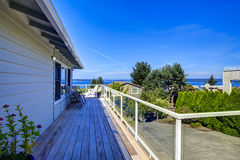 Tacoma real estate. House with wrap-around walkout deck Royalty Free Stock Images