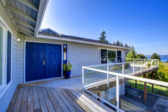 Tacoma real estate. House with wrap-around walkout deck Stock Photography