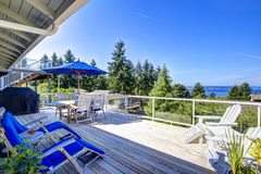 Tacoma real estate. Large walkout deck overlooking bay Stock Images
