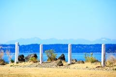 Tacoma strand med panoramautsikt Arkivbilder