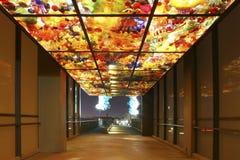 TACOMA WA - AUGUSTI 4, 2011: Tacoma i stadens centrum bro över till det Glass museet royaltyfria bilder
