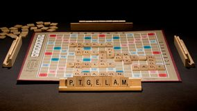 Scrabble Board Laid Out on Table stock photo