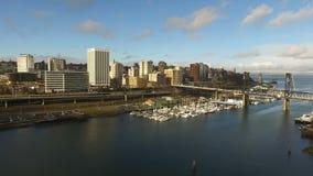 Tacoma Washington Thea Foss Waterway Draw Bridge stad av öden stock video
