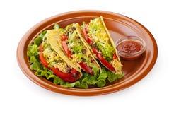 Tacos говядины с сальса салата и томатов Стоковое фото RF