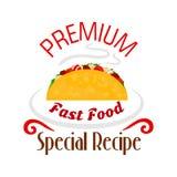 Εικονίδιο Tacos Μεξικάνικο έμβλημα γρήγορου φαγητού Στοκ Φωτογραφία