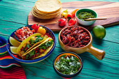 Tacos al pastor Mexican with coriander pineapple Stock Image
