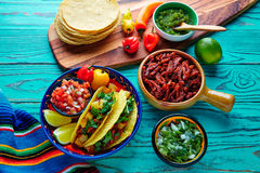 Tacos al pastor Mexican with coriander pineapple. And chili royalty free stock photography