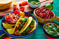 Tacos al pastor Mexican with coriander pineapple Stock Images