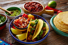 Tacos al pastor Mexican with coriander pineapple Royalty Free Stock Photos