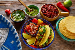 Tacos al pastor Mexican with coriander pineapple Royalty Free Stock Image