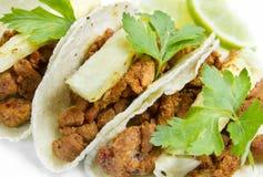 Tacos Al Pastor Mexican Dish. Mexican traditional Tacos Al pastor dish royalty free stock photos