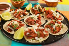 Tacos al pastor, mexican taco, street food in mexico city royalty free stock images