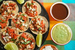 Tacos al pastor, mexican taco, street food in mexico city. Mexican food stock images
