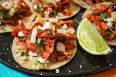Tacos al pastor, mexican taco, street food in mexico city stock photos