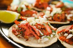 Tacos al pastor, mexican taco, street food in mexico city royalty free stock photography