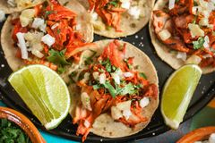 Tacos al pastor, mexican taco, street food in mexico city. Tacos mexicanos royalty free stock image