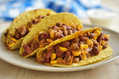 Tacos avec chili con carne Images stock