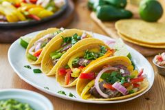 Tacos with beef and bell pepper filling served with guacamole stock photography