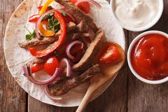 Tacos with beef and vegetables close-up. horizontal top view Royalty Free Stock Photo