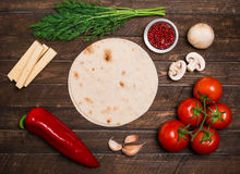 Tacos or burrito ingredients making with copyspace. Ingredients Royalty Free Stock Photography