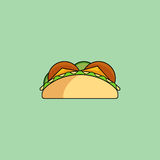 Tacos and burrito line icon. Cute cartoon tacos. Burrito with salad, cucumber, cutlet, cheese.Minimalist line style, modern color, flat design. Mexican food thin Stock Photography