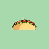 Tacos and burrito, shaurma line icon. Cute cartoon tacos, shaurma Burrito with salad, tomatoes, cutlet, cheese.Minimalist line style, modern color, flat design Stock Photo
