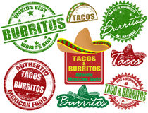 Tacos and burritos stamps Royalty Free Stock Image