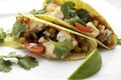 Tacos de poissons avec la tortilla de maïs image libre de droits