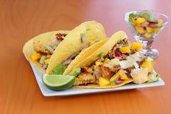 Tacos de poissons servi avec un Salsa de mangue Photographie stock libre de droits