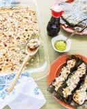 Tacos de sushi grillé par Hawaïen images stock