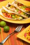 Tacos de tortilla plié par boeuf Photos libres de droits