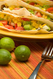Tacos de tortilla plié par boeuf Photos stock