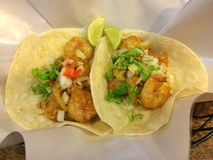 Tacos del camarón Foto de archivo