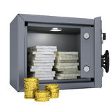 Tacos del dinero y de las monedas en una caja fuerte Imágenes de archivo libres de regalías