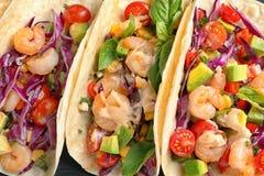 Tacos deliciosos del camarón, primer Fotografía de archivo